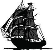 Pirate Ship with Shadows in Sails