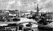 General view of the port of Brest. - Drawing Ph. Blanchard, vintage engraving.