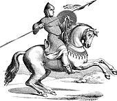 Knight on a horse wearing hauberk vintage engraving
