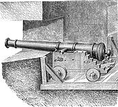 Artillery Battery on the dimension of ship vintage engraving