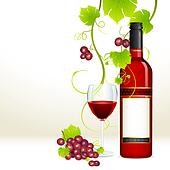 Grape with Wine Bottle and Glass