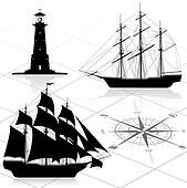 Set of nautical design elements