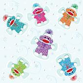 Baby sock monkeys make snow angels