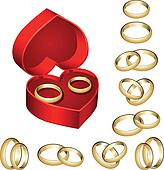 Set of gold wedding rings with box
