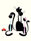 Cat family - black silhouette