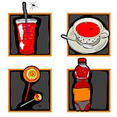 halloween scary drinks and candy icons
