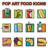 pop art food icons