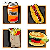halloween scary fast food meal icons