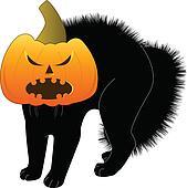 Cat with pumpkin head