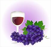 Grape and glass of wine
