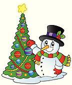 Cartoon snowman with Christmas tree