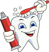 Tooth with brush and tooth paste