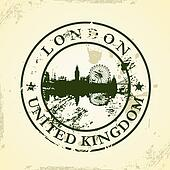 stamp with London, United Kingdom