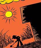 Farmer Digging Silhouette