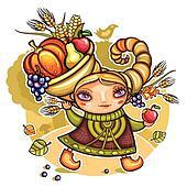 Girl wearing Cornucopia hat 1