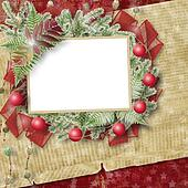 Abstract star background with paper frame and bunch of twigs Christmas trees
