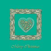 Old Christmas Card heart of gold