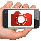 Tourism concept: Photo Camera on smartphone