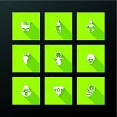 Vector flat baby icon set