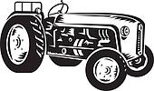 vintage tractor retro woodcut