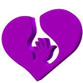 Hand heart symbol protection logo