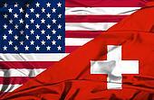 Waving flag of Switzerland and USA