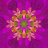 Symmetrical pattern in stained-glass window style. Purple palett