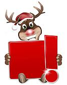 Christmas Reindeer red sign with exclamation mark creative design