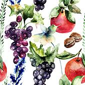 Watercolor Illustration with fruits and flowers