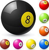 Billiard balls out of American billiards