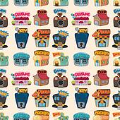 cartoon house / shop seamless pattern