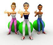 3D women in Pilates class