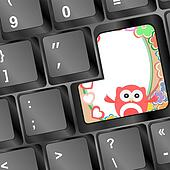 owl on computer keyboard key with love hearts