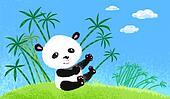 Panda on the grass.