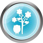 button with owl and tree, isolated on white