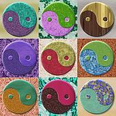 Set of yin-yang symbol generated textures
