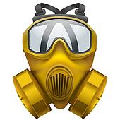 Yellow gas mask respirator.