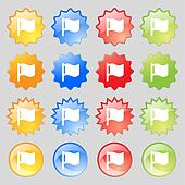 flag icon sign. Set from sixteen multi-colored glass buttons with place for text.