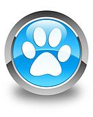 Animal footprint icon glossy cyan blue round button
