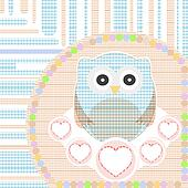 textile cute little owl with love heart vector