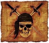 Pirate Skull on Old Parchment