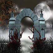 Gothic gate with red ivy and fog