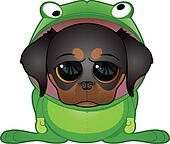 Puppy in Frog Costume