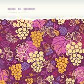 Sweet grape vines horizontal torn border seamless pattern background