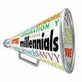Millennials Bullhorn Megaphone Marketing Advertising Generation Y