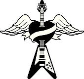 Tattoo-style Guitar logo