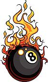 Billiards Eight Ball Flaming Vector