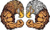 Eagle Mascots Flexing Arms Cartoon