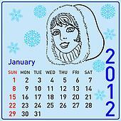 2012 year calendar beautiful girls