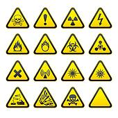 Set of Triangular Warning Hazard Si